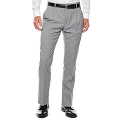 WD.NY Gray Plaid Flat-Front Suit Pants - Slim Fit