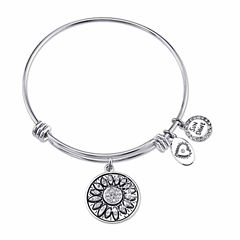 Footnotes Womens White Crystal Silver Over Brass Bangle Bracelet