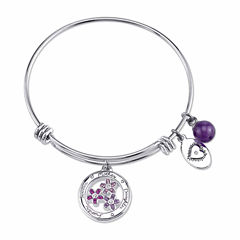 Footnotes Womens Purple Crystal Silver Over Brass Bangle Bracelet