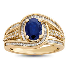 Womens 1/2 CT. T.W. Blue Sapphire 14K Gold Cocktail Ring