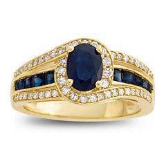 Genuine Blue Sapphire & 1/3  C.T. T.W. Diamond 10K Yellow Gold Ring