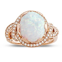 Womens 1/4 CT. T.W. Multi Color Opal 10K Gold Cocktail Ring