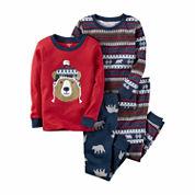 Carter's Boys 4-pc. Long Sleeve Kids Pajama Set-Baby