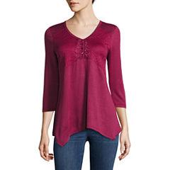 One World Apparel 3/4 Sleeve V Neck T-Shirt