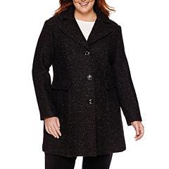 Miss Gallery® Wool-Blend Walker Coat - Plus