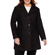 Miss Gallery® Wool-Blend Walker Coat - Plus