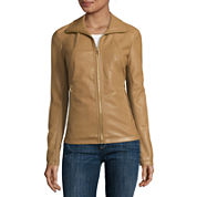 Liz Claiborne® Wing-Collar Faux-Leather Coat