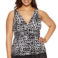 Trimshaper Pattern Tankini Swimsuit Top-Plus