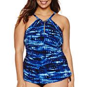 Trimshaper Tie Dye Tankini Swimsuit Top-Plus