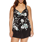 Trimshaper Floral Swim Dress Plus