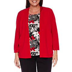Alfred Dunner Wrap It Up 3/4 Sleeve Layered Sweaters-Plus