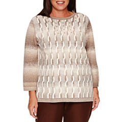 Alfred DunnerTwilight Point  Long Sleeve Boat Neck Pullover Sweater-Plus