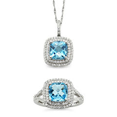 Genuine Blue Topaz & Lab-Created White Sapphire Pendant Necklace & Ring Set