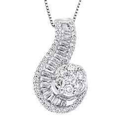 diamond blossom 1 CT. T.W. Diamond 10K White Gold Swirl Pendant Necklace