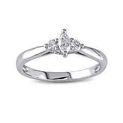 1/4 CT. T.W. Diamond 14K White Gold 3-Stone Marquise Bridal Ring