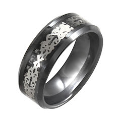Black Ceramic & Stainless Steel Patterned Band