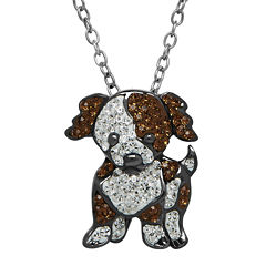 Animal Planet™ Crystal Sterling Silver Mutt Pendant Necklace
