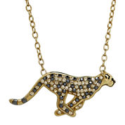 Animal Planet™ Crystal 14K Yellow Gold Over Silver Cheetah Pendant Necklace