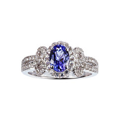 Womens Blue Tanzanite Sterling Silver Halo Ring
