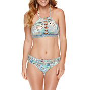 Liz Claiborne® Paisley High Neck Crop Top or Sash Hipster