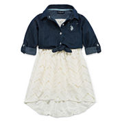 U.S. Polo Assn. Short Sleeve Skater Dress - Toddler