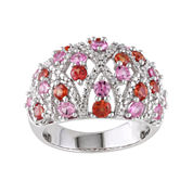 Genuine Pink and Orange Sapphire and 1/10 CT. T.W. Diamond Ring
