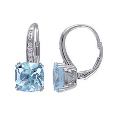 Genuine Sky Blue Topaz and Diamond-Accent Leverback Drop Earrings