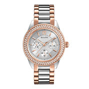 Bulova® Womens Crystal-Accent Two-Tone Stainless Steel Bracelet Watch 98N100