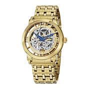 Stührling® Original Mens Gold-Tone Stainless Steel Skeleton Automatic Spoke Watch