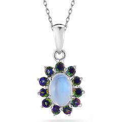 Opal & Mystic Fire Topaz Sterling Silver Pendant Necklace