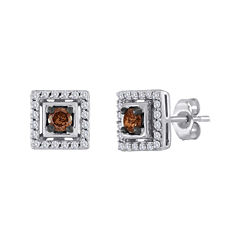 1/2 CT. T.W. White and Champagne Diamond Square Earrings