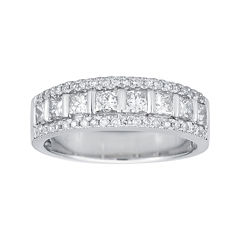 1 CT. T.W. Certified Diamond 14K White Gold Princess-Cut Band