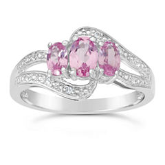 Womens Pink Sapphire Sterling Silver 3-Stone Ring