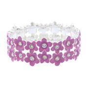 Liz Claiborne Womens Stretch Bracelet Purple Silvertone