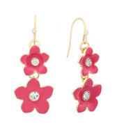 Liz Claiborne Flower Drop Earring Pink And Goldtone