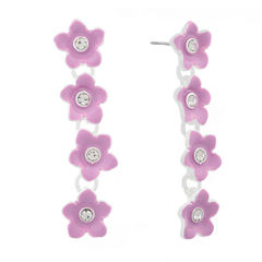 Liz Claiborne Flower Linear Earring Purple Silvertone