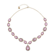 Monet Jewelry Womens Pink And Goldtone Y Necklace