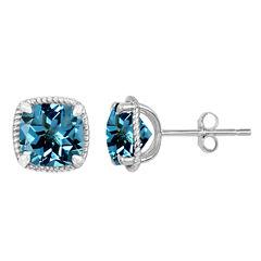 Cushion Blue Topaz Sterling Silver Stud Earrings