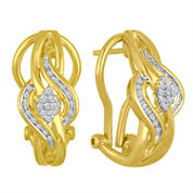 1/10 CT. T.W. White Diamond Gold Over Silver Hoop Earrings