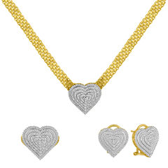 Womens 3-pc. 1/5 CT. T.W. White Diamond Gold Over Brass Jewelry Set