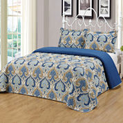 3-pc. Damask + Scroll Bedspread Set
