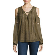 i jeans by Buffalo Eyelet Lace Up Cold Shoulder Top