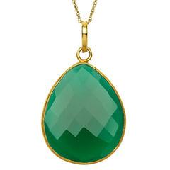 Womens Green Quartz Gold Over Silver Pendant Necklace