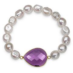 Womens White Pearl 14K Gold Over Silver Beaded Bracelet