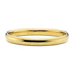 Gold Opulence 14KGold Over Diamond Resin Polished Bangle