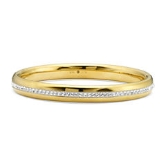Gold Opulence 14K Gold Over Diamond Resin CrystalBangle Bracelet