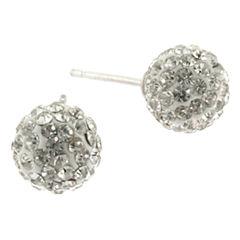 Silver Treasures White Crystal Stud Earrings