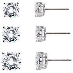 Sterling Silver Cubic Zirconia Earring Set