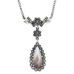 Marcasite and Mother-of-Pearl Teardrop Necklace
