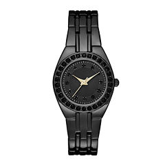 Womens Crystal-Accent Black Dial Black Bracelet Watch